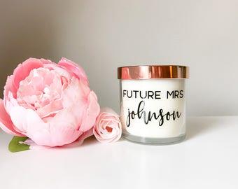 Keepsake candle, future mrs candle, personalized candle, bridal candle, bride to be candle, scented Candle