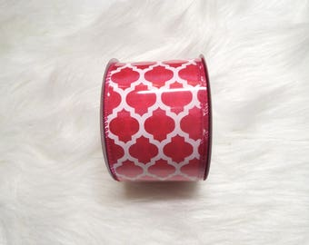 2.5X10yds-Fuchsia quatrefoil ribbon, Fuchsia lattice ribbon, Fuchsia quatrefoil ribbons, Fuchsia lattice ribbons, Fuchsia ribbon