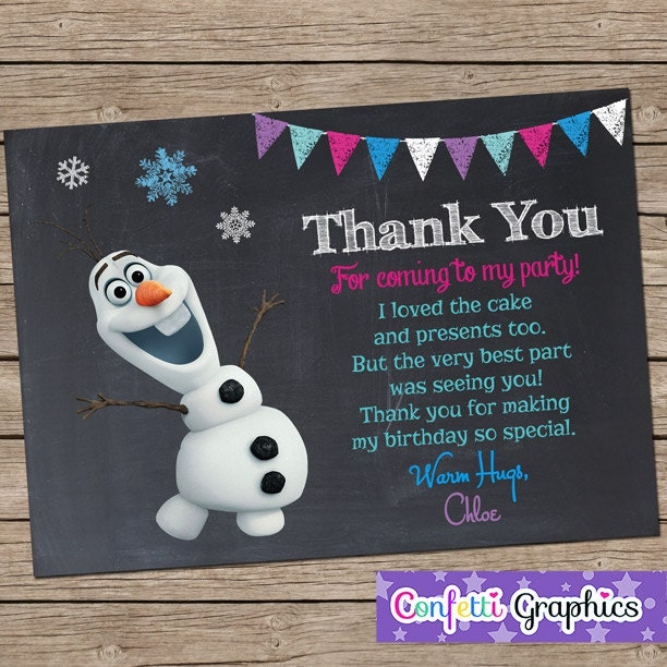 Frozen Olaf Thank You For Coming To My Birthday Party Card
