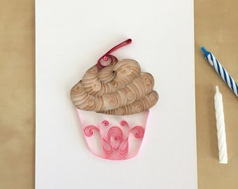 Quilling Paper Tan and Pink Cupcake Home Decor, Chocolate Pink Cupcake Art, Girls Room Decor, Toddler Baby Girl Gift, Girls Cupcake Art