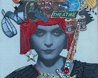 "Drama Queen 3-D Art Print- 8x10""-Theater, Theatre, Film, Red Velvet, Stage,Screen,opera glasses, glitter, rhinestones, Shakespeare"
