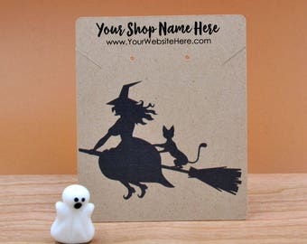 Customize Jewelry Display Cards - Halloween Witch on Broom Flying Cat - Earring Necklace Bows - necklace Cards -Packaging  | DS0149