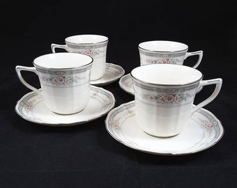 """Noritake Rothschild Four (4) 3"""" Cups And Saucers 7293 Made in Japan"""