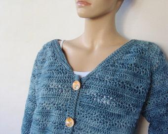 Crochet Cardigan, Merino Wool Cardigan, Merino Cardigan, Blue Cardigans, Sweaters for Women, Crochet Cardigan Women, Available in M/L