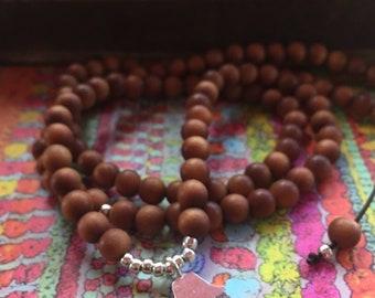 Sandalwood + Thai Silver Hamsa | 108 Bead Mala | Mini 6 mm | Spiritual Junkies | Yoga + Meditation