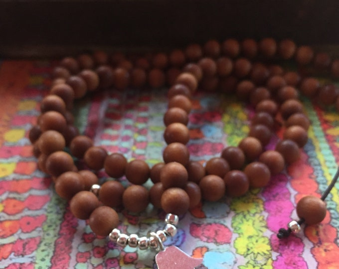 Sandalwood + Thai Silver Hamsa   108 Bead Mala   Mini 6 mm   Spiritual Junkies   Yoga + Meditation
