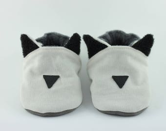Soft booties of velvet cat ears * custom * baby and toddler slippers vegan without leather