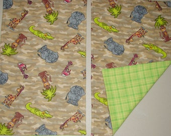Flannel Burp Cloth Set, Burp Cloths, Set of Two Burp Cloths, Camo with Animals Burp Cloth Set, New Baby Gift, Baby Shower Gift