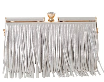 New Silver Metallic Leather Fringe- or Gold-  Evening Clutch Bag