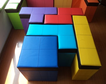 "Set of 5 pieces of tetris shaped Storage Benches  50cm high or 19.68"" high"