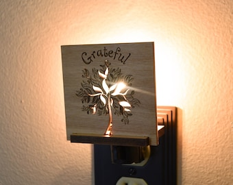Thanksgiving Night Light Wood Interchangeable. Thanksgiving Decor LED NightLight Plug In.