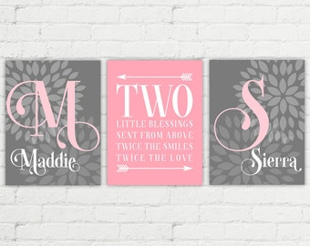 Personalized twin baby girl gifts | nursery wall art | pink and gray nursery | sisters wall art | sisters quote | two little blessings