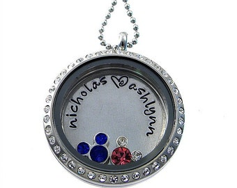 Mouse Floating Locket / Personalized Charm Locket /  Memory Locket / Hand Stamped Jewelry