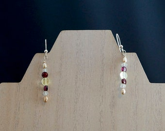 Peridot, Blue Topaz, Garnet and Freshwater Pearl Earrings