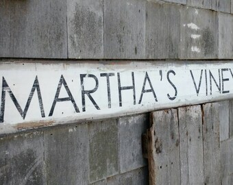 Martha's Vineyard sign on reclaimed wood hand-painted distressed rustic shabby chic READY 2 SHIP