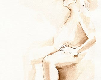 Seated Male Nude Figure Drawing, Original Ink on Paper, Pen and Ink Art, Brown Ink, Sepia Toned Art, Fine Art Nude Male