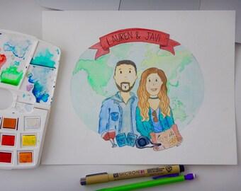 8x10 Custom Watercolor Portrait, Family Portrait, Watercolor Painting,Mother's Day Gift, Watercolor Painting with Florals/Embellishments