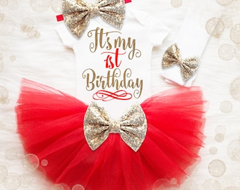 Red And Gold 1st Birthday Outfit   Baby Girl 1st Birthday Outfit   First Birthday Shirt   Glitter Birthday Shirt   Birthday Tutu Set
