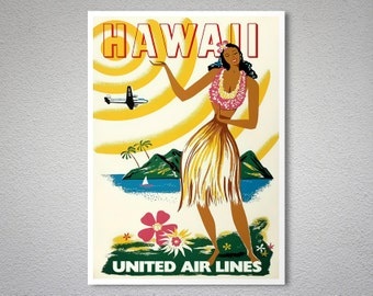 Hawaii United Airlines Vintage Travel Poster - Art Print - Poster Print, Sticker or Canvas Print / Gift Idea