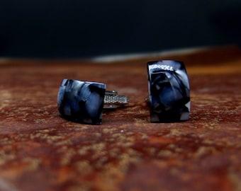 Black crash resin cufflinks type2