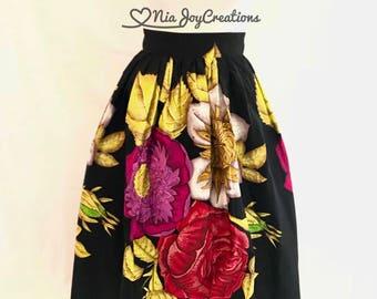 Ruva African Print Maxi Skirt...