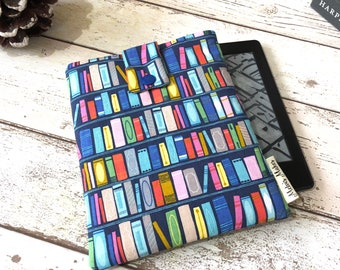 Bookcase Kindle Sleeve, Padded eReader Cover, Travel Voyage, Fire HD, Oasis, Paperwhite Case. Bookish Tablet Cover, eBook Lover Bag