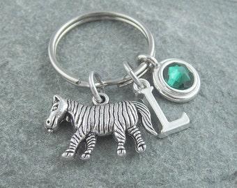 Zebra keychain, zebra keyring, initial keychain, birthstone keychain, personalized keyring, animal keychain, swarovski birthstone, monogram