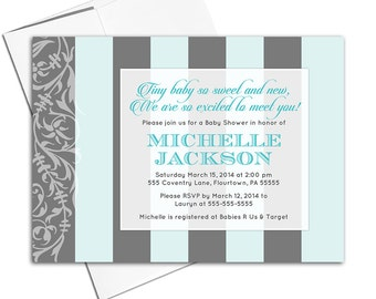 gender neutral baby shower invitation with stripes | modern baby shower invite for neutral baby shower | printable or printed - WLP00703