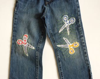 Pre-worn boys size 4T denim jeans patched with scissors and sashiko stitching on the knees