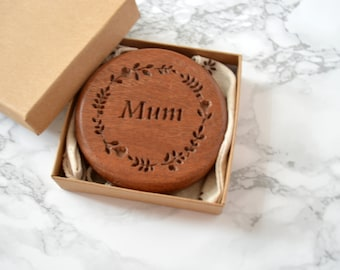 Personalised Sapele Compact Mirror| Wooden pocket Mirror | Maid of honour gift | anniversary gift | Wedding day Gift