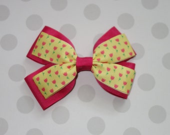 Pink Tulip Hair Bow