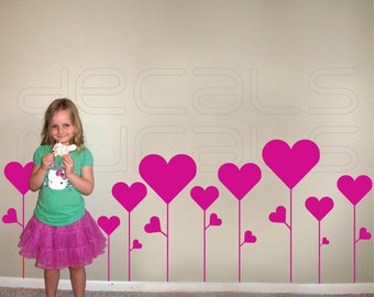 Wall decal FLOWER HEARTS Removable vinyl wall art stickers interior decor by Decals Murals (Medium)