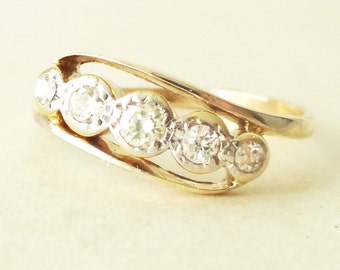 ON SALE 10% -Off Art Deco Diamond Eternity Ring, 9k Gold  Diamond Engagement Ring Size Approx. US 7.25