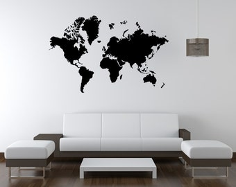 Vinyl wall decal Map of the world decor   D15