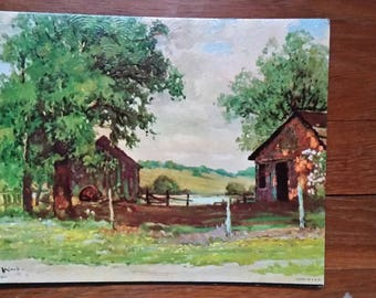 Vintage 1950s Lithograph Rustic Homestead by Robert Wood 8x10 Excellent Condition