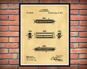 1897 Harmonica Patent Print - Hohner Harmonica Patent Print - Bluegrass Jazz Poster - Juice Harp - Mouth Organ - Country Jazz Poster Print