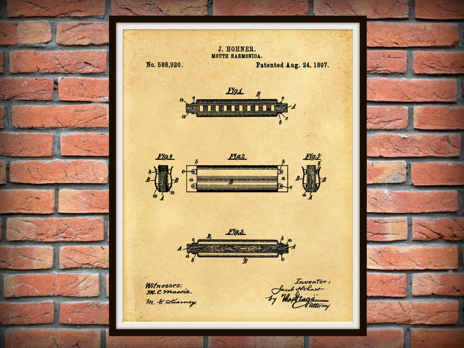 Patent 1897 Harmonica by Hohner - Wall Art - Musical Instrument ...