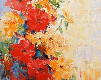"Original abstract flower oil painting, Abstract Flowers 2, palette knife impasto oil painting, Floral Still Life ca.7x10"" artbymarion"