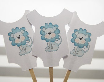 Baby Shower, Cupcake Toppers, Baby Shirt, Blue, Lion, Boy, Gender Reveal Parties, Party Picks, Food Picks