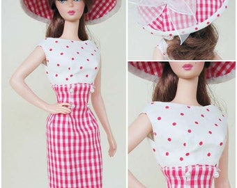 vintage Dress and Hat pattern PDF download for Silkstone barbie doll