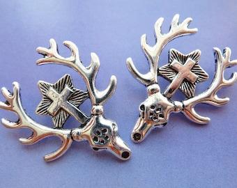 2 pendants, deer head, antler, Oktoberfest, bavarian, antique silver