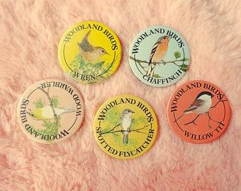 Vintage Retro Wildlife Nature Conservation English England British Woodland Bird Ornithology Pin Badge