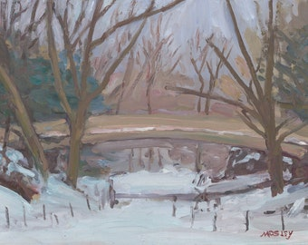 Plein Air Oil Painting Winter New York Cityscape Original on Panel by Walter Lynn Mosley - Pine Bank Arch Central Park Snow Scene