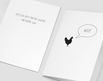 Get well greeting card with matching envelope; I'm sorry you're not feeling like yourself