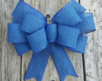 Big blue 12 inch bow, burlap blue bow, wreath bow, wedding bow, chair bow, blue wedding bow, blue chair bow, blue burlap chair bow