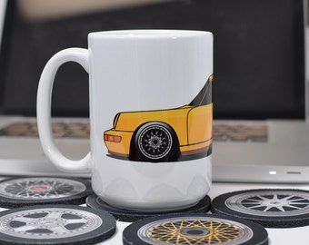 Classic 964 Coupe Yellow   Coffee Mug   911 Racing Retro German Car Auto  Motorsport