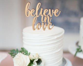 Believe in love cake topper, wedding cake topper, cake topper for wedding, rustic wooden cake topper, love cake topper, rustic decor