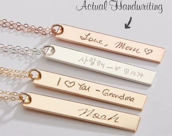 Custom Handwriting Necklace-Actual Handwriting 1 2 3 4 Bars-Personalized Memorial Signature-Kids Handwritten Note-Gold-Rose-Silver-CG261N