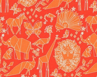 Michael Miller Origami Oasis Fold Clementine fabric - 1 yard