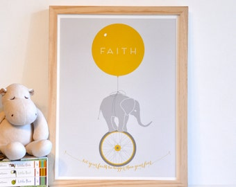 Let Your Faith Be Bigger Than Your Fear - Inspirational Elephant Monocycle Typography Art Print - 12x16 yellow coral orange children decor
